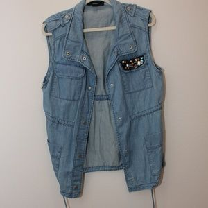 Forever 21 Extra Long Denim Vest Size Medium